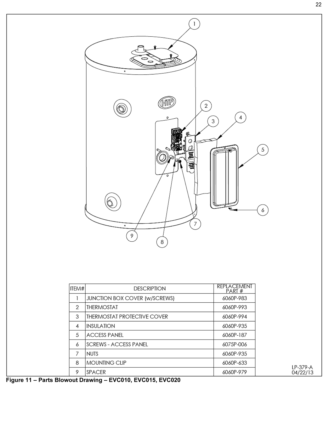 Everlast Commercial Electric Water Heater Parts Drawings