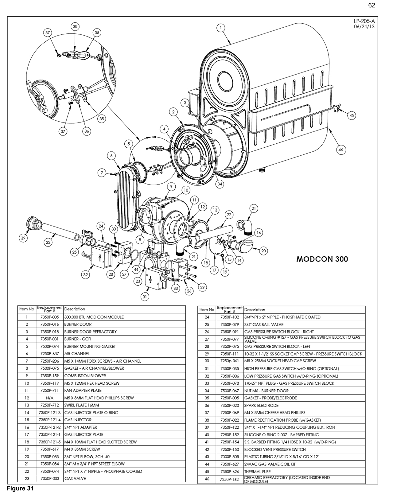 mod con commercial gas boiler - parts drawings